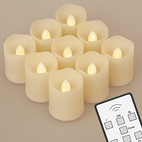 NONNO & ZGF Juego de 9 luces sin llama con pilas LED con control remoto Tiempo de luz extendida regulable para fiestas de cumplea?os Bodas Festivales Decoraciones Velas Votivas de Navidad