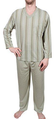 Herrenpyjama Schlafanzug Nachthemd lang Olivgrün