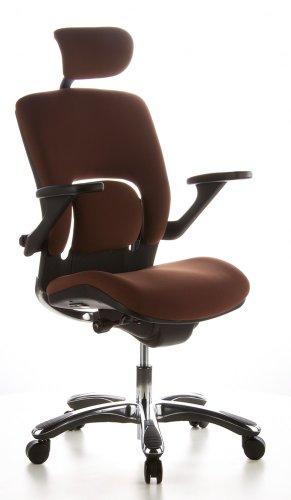 hjh OFFICE 652010 Bürostuhl Chefsessel VAPOR LUX Stoff coffee, ergonomische Lendenwirbelstütze, viele individuelle Einstellmöglichkeiten, Drehstuhl ergonomisch, verstellbare Armlehnen,Schreibtischstuhl