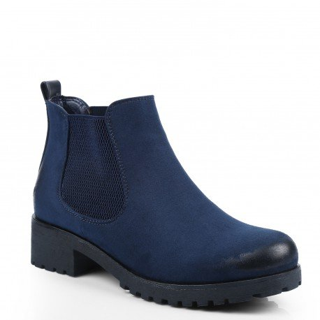 Ideal Shoes–Scarponcini stile Chelsea effetto camoscio Ginesa Nero