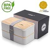 Atthys Fiambrera Bento Bambú Blanco | Bento Japonés Design 3 Cubiertos de Regalo | Bento Box 2...