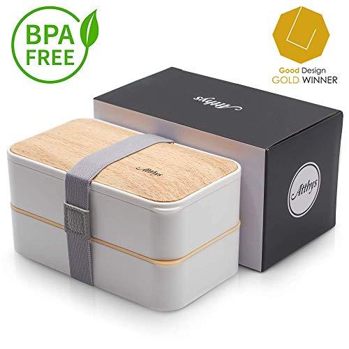 Atthys Lunchbox Weißer Bambus | Japanische Bento Design 3 Geschenkte Bestecke Bento Box 2 wasserdichte Fächer 1200 ml Mikrowelle- und Spülmaschinefest Brotdose Holz Erwachsene oder Kinder Premium