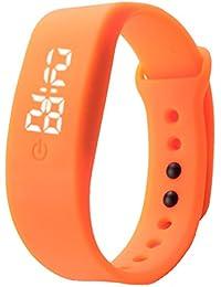 Caoutchouc Montre LED, Reaso Femmes Hommes Sports Date Bracelet Montre numérique Orange