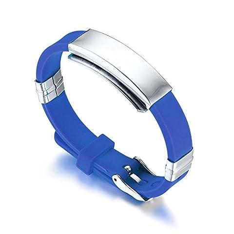22.7 cm LianDuo Silicone Watch Band Wrist Bracelet Bangle Blue For Men,Free engraving