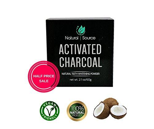 Mousse de nettoyage/blanchiment des dents naturelles activées au charbon de bois fabriqué à partir de coquilles de noix de coco bio 60 g | Source naturelle