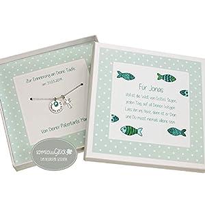 Kette Taufe Kommunion Kreuz 925 Silber mit Gravur Geburtsstein und Geschenkbox Kommunionskette Taufgeschenk personalisierte Taufkette Junge HANDMADE IN GERMANY