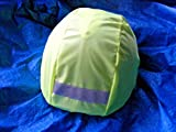 Horse riding helmet waterproof cover in flourescent yellow with reflective strip