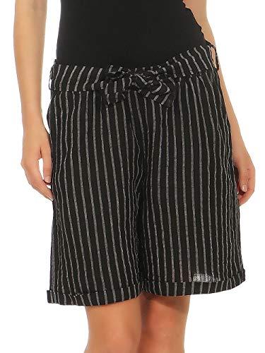 Malito Damen Shorts aus Leinen | lässige Kurze Hose | gestreifte Bermuda | Pants - Hotpants 6820 (schwarz, S) - Gestreifte Leinen-pants
