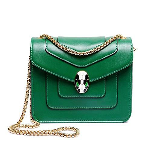 Handgefertigte Designer-handtaschen (Neue Designer-Handtaschen Damenmode kleine Goldkette Umhängetasche wilde diagonale Schlangenkopftasche Kuriertasche (grün, 20 * 14 * 6cm))