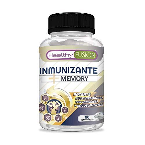 Inmunizante + Memory   Completo multivitamínico con vitaminas C, E, B3, B5, A, B6, B2, B1, B9, B12, D3, zinc y hierro   Evita gripes y resfriados   Mejora y fortalece la memoria   60 comprimidos
