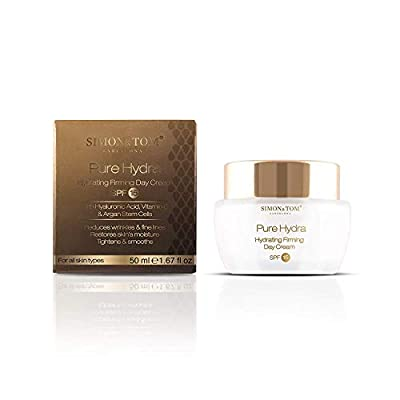 Simon & Tom Pure Hydra Day Cream with SPF 15 - Anti Ageing Hydrating Hyaluronic Acid Face Cream with Antioxidant Vitamin C & Skin Renewing Argan Stem Cells. 50 ml