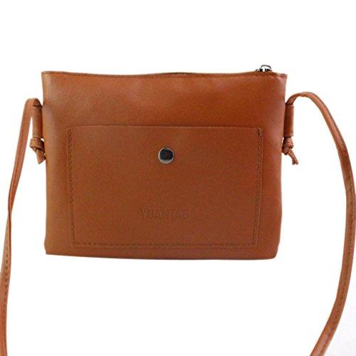 Internet Femmes Solide Sac à main de cuir PU sac à bandoulière 21cm*2cm*16cm (Marron)