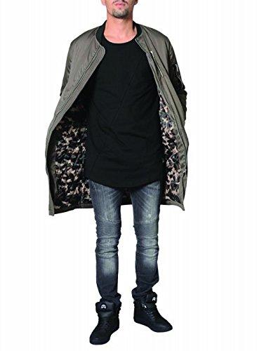DJ White Long Bomber Jacke Parka Oversize Mantel Khaki - 2