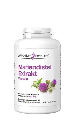 effective nature Mariendistel Extrakt - 60 vegetarische Kapseln - Enthält > 80% Silymarin - Ohne Zusatzstoffe - Reich an ätherischen Ölen, Bitter- und Gerbstoffen