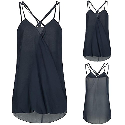 OSYARD Damen Mode Sommer Wrap Kreuz ärmellosen Chiffon Casual Sling Tank Top Blusen(EU 38/S, Blau)