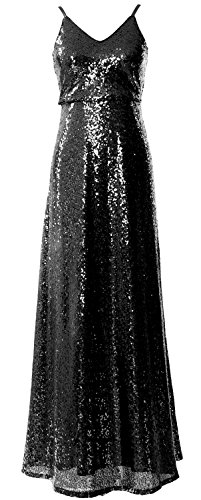 MACloth Women V Neck Sequin Long Bridesmaid Dress Cowl Back Formal Evening Gown Schwarz
