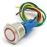 DollaTek 22mm Momentary Switch Drucktastenschalter 12V DC Angel Eye LED wasserdichter Edelstahl runder Lichtschalter - Rot