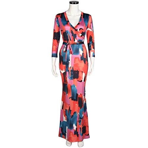 Robe de cocktailRobe de soir¨¦e Femmes Sexy Impression Paquet Slim manches longues Hip Party Dress Rouge