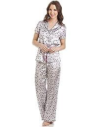 Pyjama en satin avec ceinture et haut à manches courtes - motif pois - gris
