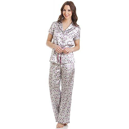 Conjunto de pijama de satén - Manga corta y cinturón - Lunares - Gris 42