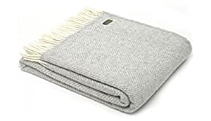 Tweedmill Luxury Throw Blanket - 100% Pure New Wool - Lifestyle FISHBONE (SILVER GREY) by Tweedmill