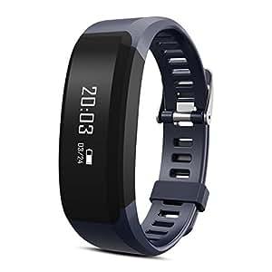 Padgene Fitness, Cardiofrequenzimetro Bluetooth 4.0,braccialetto intelligente per Android IOS Smartphone, Dark Blue