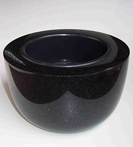 """designgrab \""""Modern\"""" Grabschale Durchmesser 25 cm aus Granit Schwedisch Black SS1 schwarz Friedhofsschale Grabschmuck Granitschale Pflanzgrabschale Grabmalschale Pflanzschale"""
