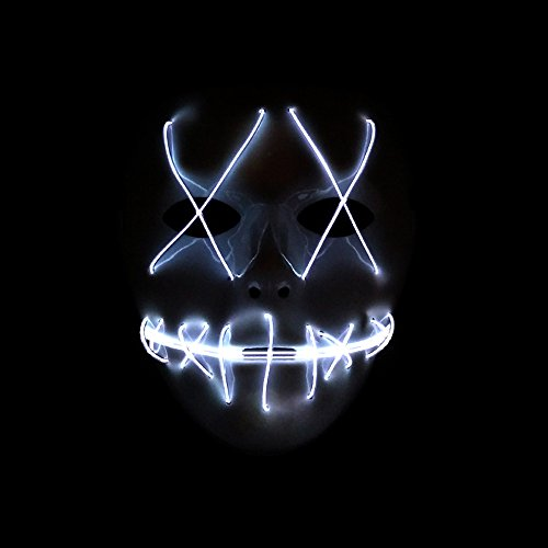 Alxcio LED Light EL Wire Cosplay Maske für Halloween Christmas Party Costume Mask Purge Horror ()