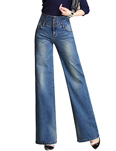 5903b232fe194b MLM0 Donna Jeans a Zampa di Elefante Svasati Classici Vita Alta Push-Up Blu Pantaloni  Denim Larghi | Prezzi e Offerte | Market Patentati