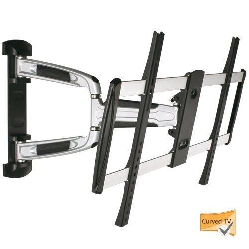 Premium Alu LCD LED TV Wandhalterung Schwenkbar Neigbar Ausziehbar Doppelarm Halter kompatibel mit TVs von 82 - 178cm (32-70 Zoll) Vesa max. 400 x 400 mm Wandabstand ca 6 cm auch für Curved TV geeignet