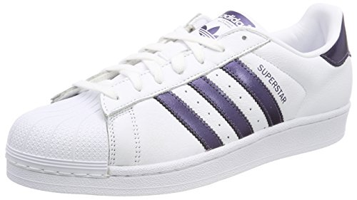 adidas Damen Superstar Gymnastikschuhe, Elfenbein (Ftwr White/Purple Night Met. F17/Ftwr White), 42 2/3 EU (Trefoil Superstar Damen Adidas)