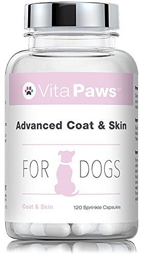 Advanced Coat & Skin Remedy for Dogs | Supplement Formulated for Dry, Itchy Skin or Dull Coats | Rich in Fish Oil, Flaxseed Oil & Biotin | 120 Sprinkle Capsules for Fussy Pets | UK Manufactured