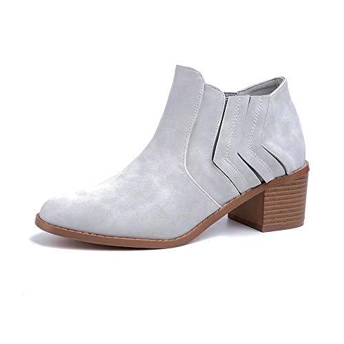 Botines Mujer Tacón Medio, Chelsea Piel Elásticos 5 Cm Zapatos De Botas Comodos Fiesta Vintage Gris...