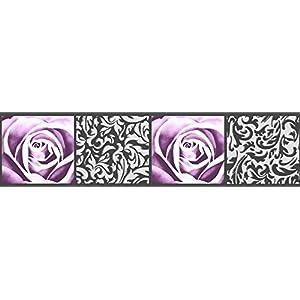 A.S. Création selbstklebende Bordüre Stick ups 5,00 m x 0,13 m schwarz lila Made in Germany 901910 9019-10