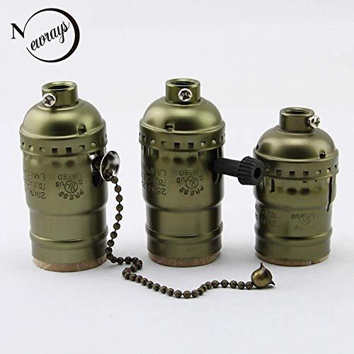 Preisvergleich Produktbild AiCheaX Vintage Edison Lampenfassung mit Knopfschalter / Zugkettenschalter Pendelleuchte E27 / E26 Fassung UL / 110V / 220V AiCheaX (Farbe: Retro Bronze,  Basistyp: Knopfschalter)