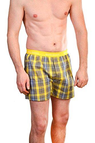Bruno Banani Herren Boxershorts Unterhose Cotton Gelb/Grau Karo(2114)