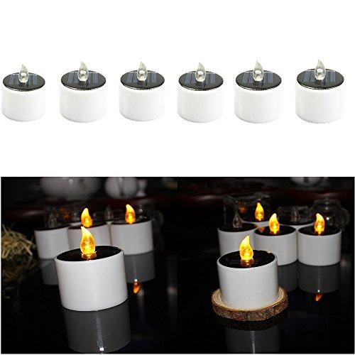 ight Amber flammenlos Kaffee Tee Licht, Solar Kerze Lampe für Outdoor Wandern Camping, Hof, Bar, Hochzeit, Party (6Stück Set) ()