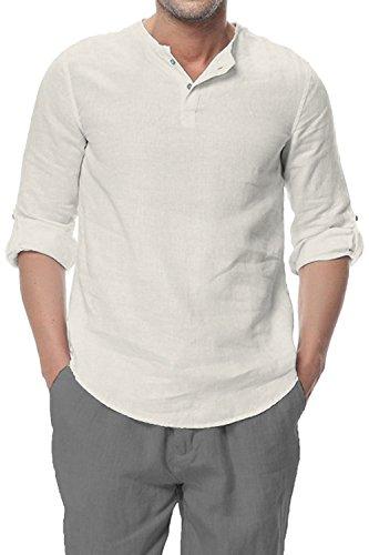 Najia symbol camicia uomo 100% lino senza colletto maniche 3/4 slim fit coreana shirt henley 338 (naturale, m/it 48)