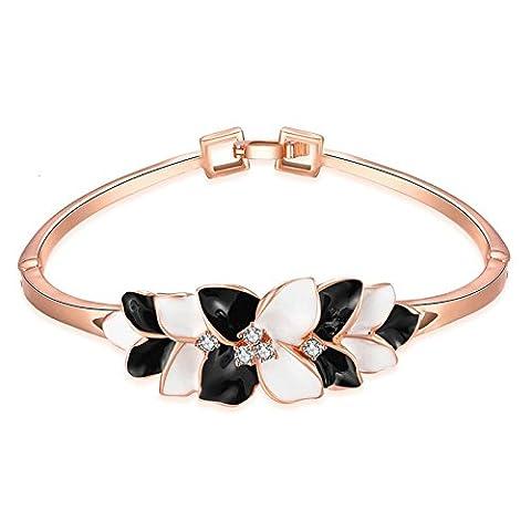 KnSam Bracelet Femme Plaqué Or Élégant Charm Bangle Paint Fleurs Or Rose