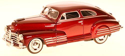 Chevrolet Chevy Aerosedan Fleetline Coupe Rot 1948 Oldtimer 1/24 Motormax Modell Auto mit individiuellem Wunschkennzeichen