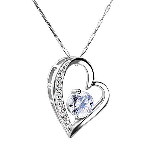 Dothnix Halskette Herz Damen Kette Silber 925 mit Anhänger Schmuck Geburtstag Valentinstag Geschenk für Frauen Freundin Mütter