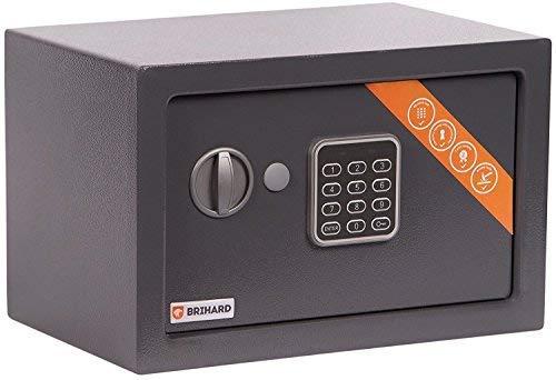 Brihard Home Caja fuerte Electrónica, 20x31x20cm (HxWxD), Gris Titanio