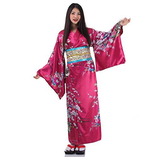 Japanischer Geisha Kimono Sakura Weinrot