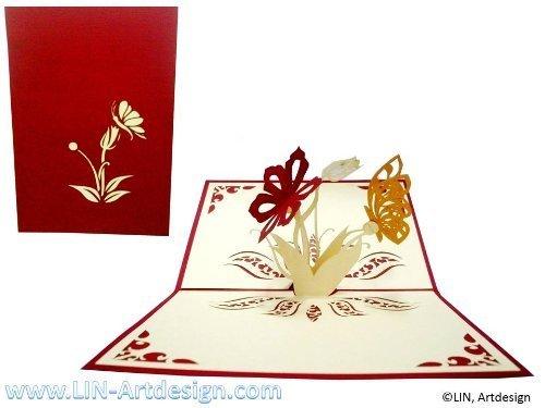 LIN-POP UP Karten Grußkarten, Dankeskarten, Gute Besserung, Geburtstagskarten Schmetterling Blumen