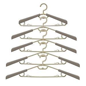 Ipow [5-Stück] groß ausziehbare Kleiderbügel Anzugbügel aus hochwertigem Kunststoff, mit Aufhänger platzsparend für Kleiderschrank, Farbe Grau