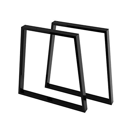 Stahl Tischgestell/Tischkufen / Tischbeine 2er Set inkl. Filzgleiter | 2 Stück | Breite 70 cm (50 Trapez) x Höhe 70 cm | SossaiTKG6, Profil Trapez 20x60mm | Farbe: Schwarz -