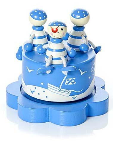 Spieluhren Holz Blau Pirat für BabyJunge Taufe Baby Party Geschenk Taufe Boy Music Box