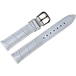 18mm white leather watch strap band replacement padded alligator grained classic pin buckle