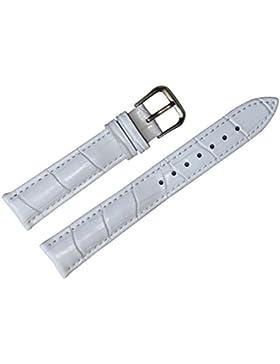 16mm weiß Leder Armband Riemen Ersatz echte Kalbsleder Krokodil der Frauen geprägt