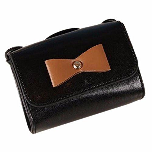 Frauen Handtasche Schultertasche Leder Bowknot Barrel Form Beutel-Schultaschen-Geldbeuteltote Schwarz